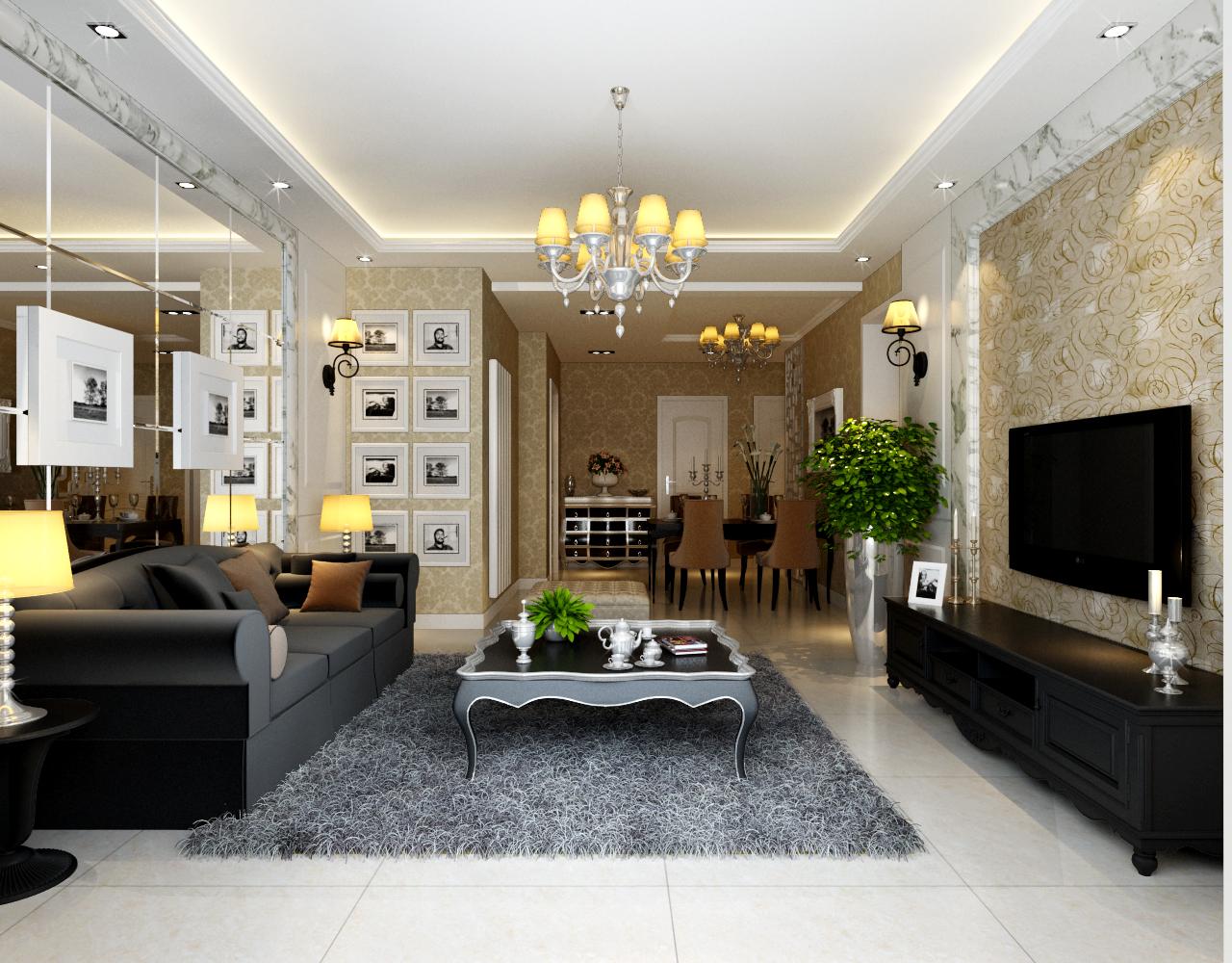 格林上东 118平米 三居室 欧式风格 装修设计 客厅图片来自郑州实创-整套家装在格林上东三居室简欧风格装修的分享