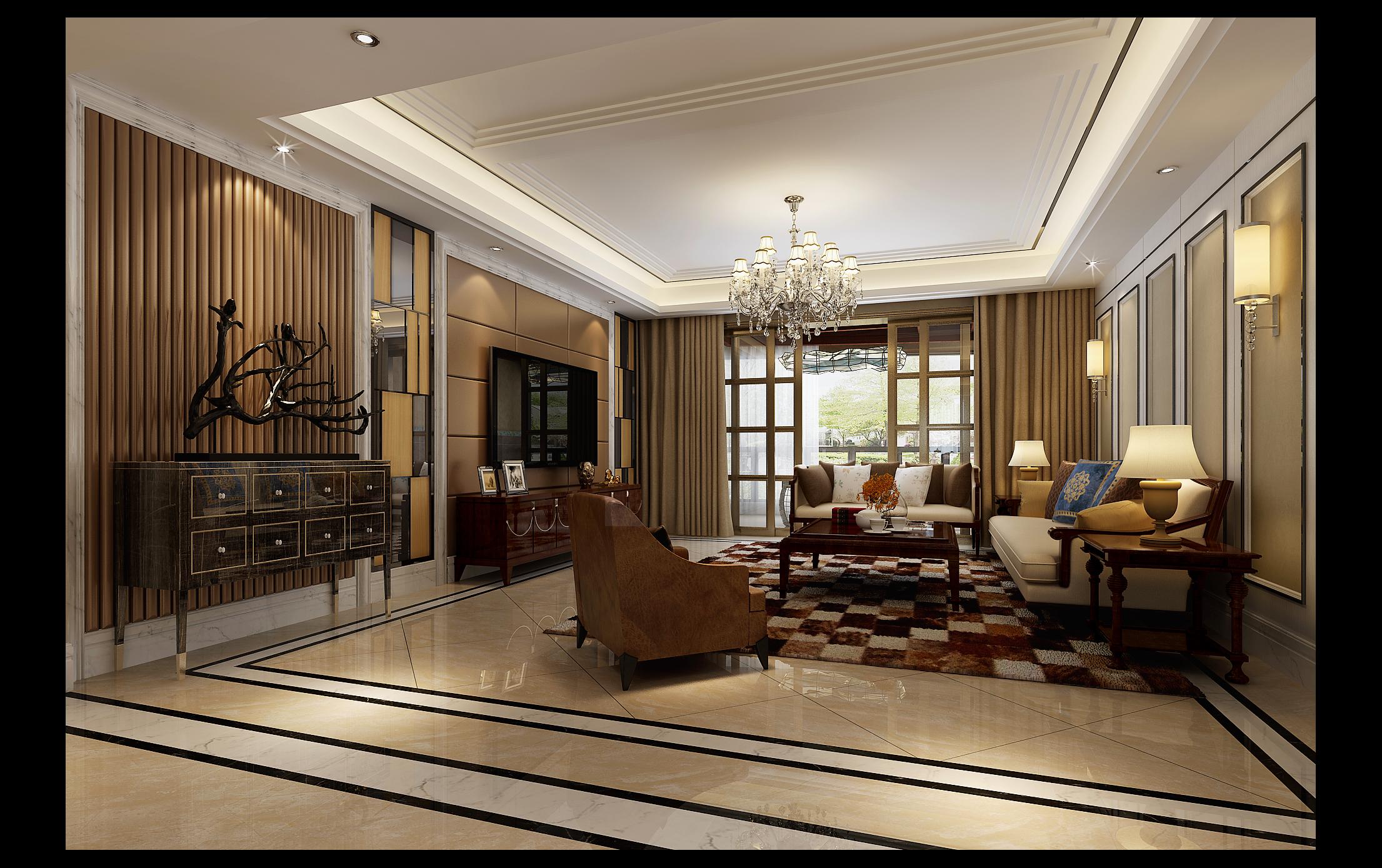 客厅图片来自湖南点石家装在新贵风格作品的分享