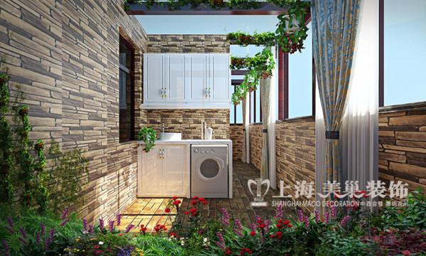 财信圣堤亚纳简欧装修130平3室2厅案例效果图——阳台布局