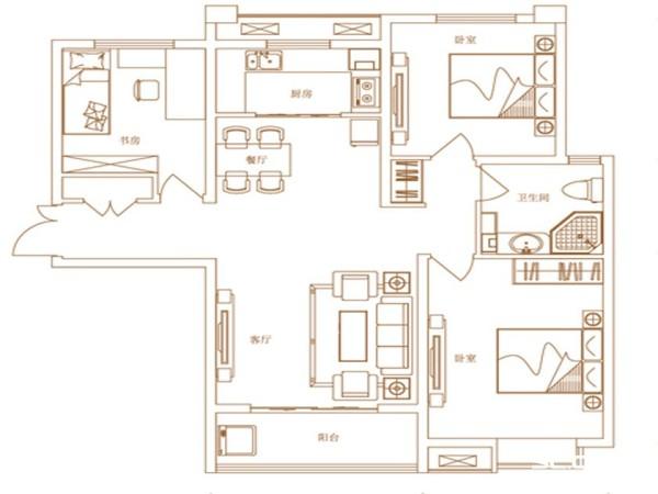 家天下120平欧式风情装修图-户型图