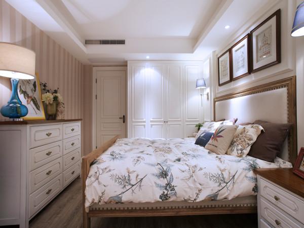 蓝堡湾 110平三居室 美式田园风格 装修设计案例 效果图-卧室
