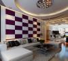 开平小区 四居室 简约风格装修设计案例 效果图-沙发背景墙