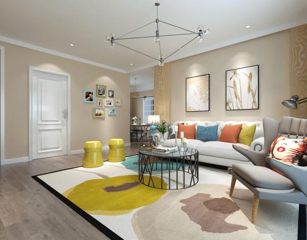 客厅的整体设计效果展示,客厅中整体墙面粉刷米黄色,非常的温馨舒适。地面铺贴浅灰色木质地板,干净大气整洁。