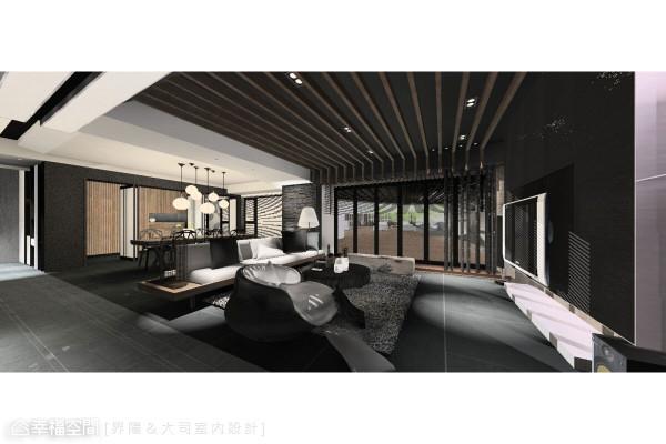 天花板格栅突破建筑物的有形界线,藉由设计元素的延伸、贯连,模糊室内室外的分界。 (此为3D合成示意图)
