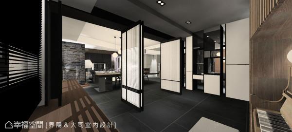 以流动的空间概念为主轴,构置透光不透视的玻璃折门以及虚实交错的展示柜,创造更通透有弹性的场域关系。 (此为3D合成示意图)