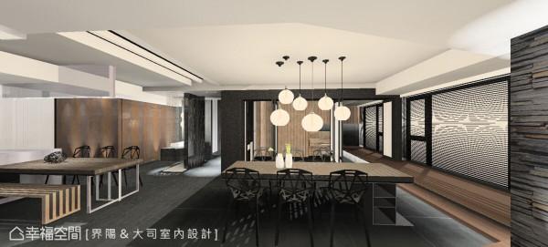 开放式空间另分为吧台以及餐厅,运用家具质感的呼应和地坪的异材质区别,形成可串连亦可独立视之的弹性用餐场合,可容纳十六人共同使用。 (此为3D合成示意图)