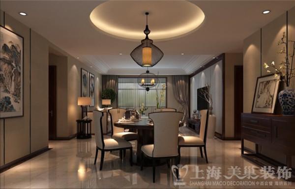 新中式风格装修天骄华庭140平案例效果图——餐厅