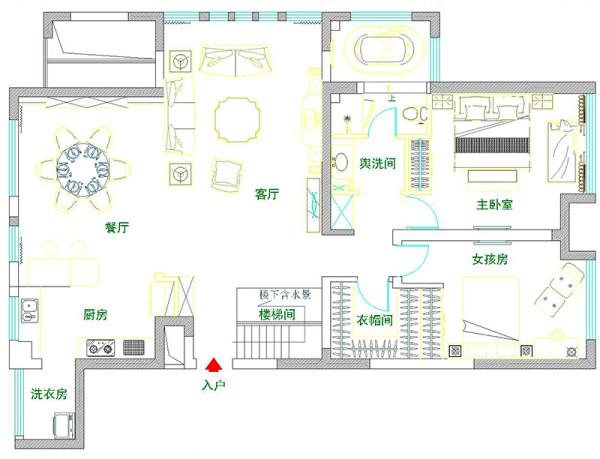 苑现代城220平欧式装修复式案例样板间——户型平面图