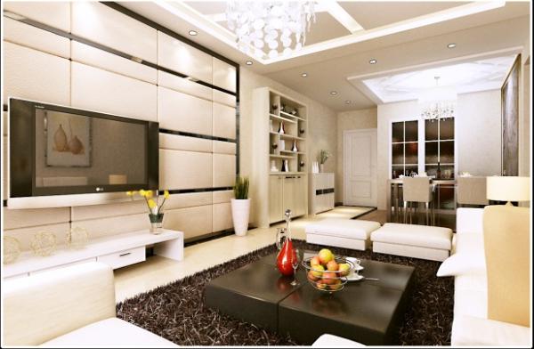 浐灞半岛现代风格三居室装修客厅效果图