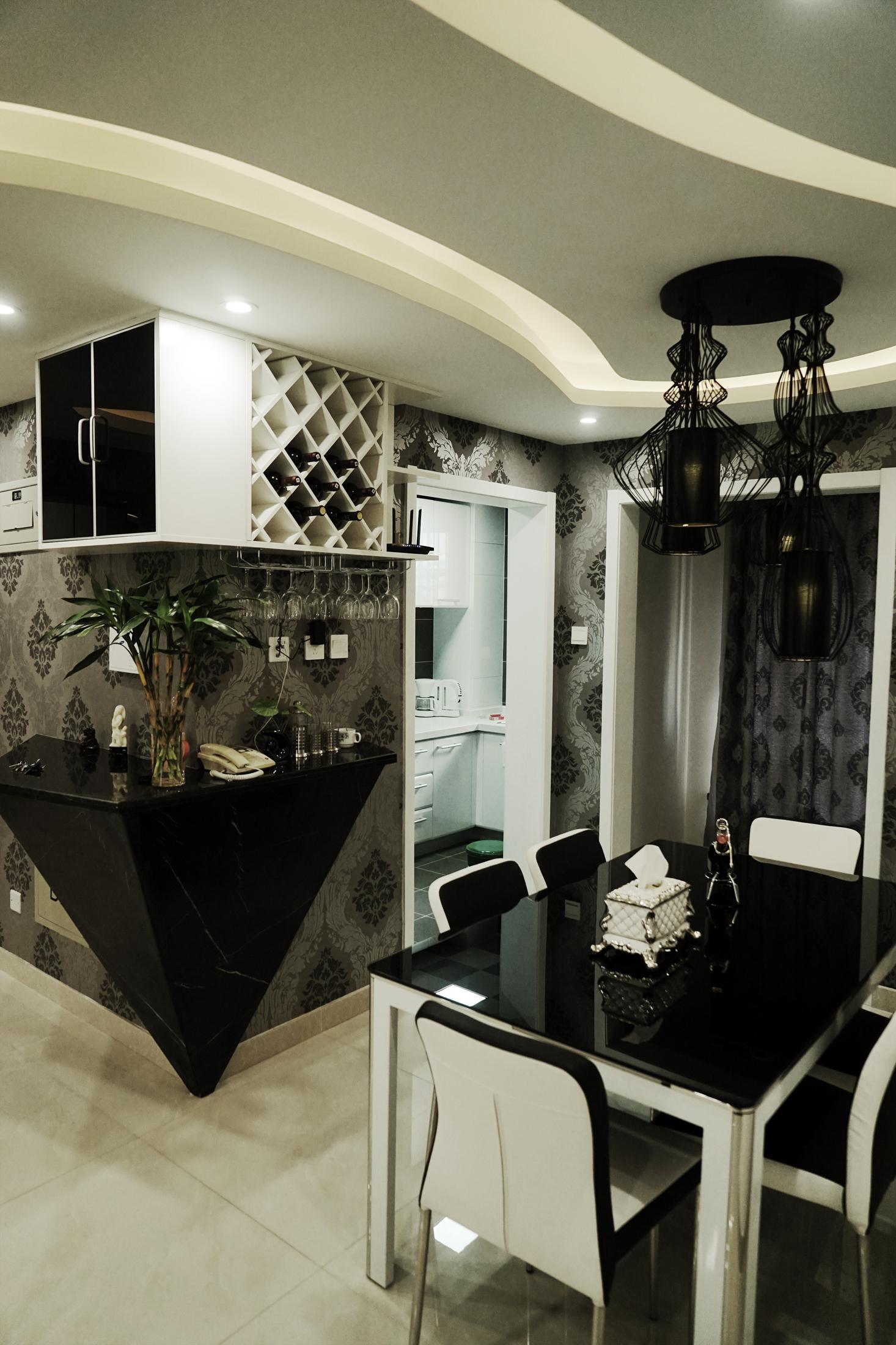 简约 现代 黑白灰 造型顶 吧台 餐厅图片来自253886347在光之谷的分享