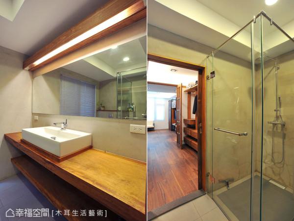 紧临在更衣室后的主卧卫浴,大面的洗手台面、镜子及干湿分离的淋浴空间,扩充了盥洗机能,让生活动线更顺畅便利,态度自然也优雅起来。