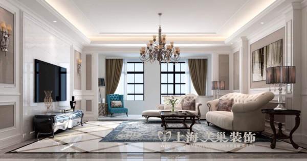 郑州锦园四室两厅160平新古典风格装修效果图——客厅