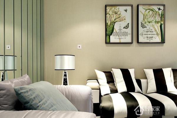 沙发背景墙以及现代装饰画,将简约进行到底