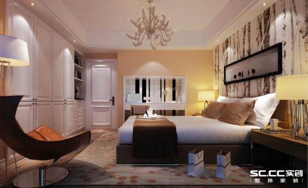 卧室:设计师分析主人的风格定位根据户型划分功能区域的使用,增加了梳妆台位置摆放,跟书房之间的墙的巧妙利用是本屋设计的亮点。
