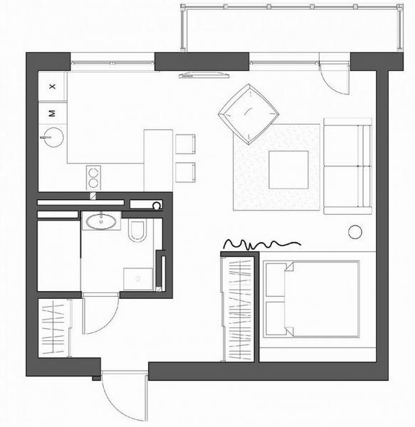 小资 80后 旧房改造 白领 收纳 户型图图片来自过家家装饰在年轻夫妇的小户型潮居的分享