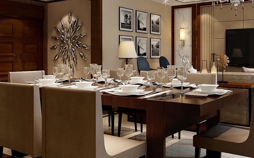 餐厅图片来自湖南点石家装在保利国际新中式案例欣赏的分享