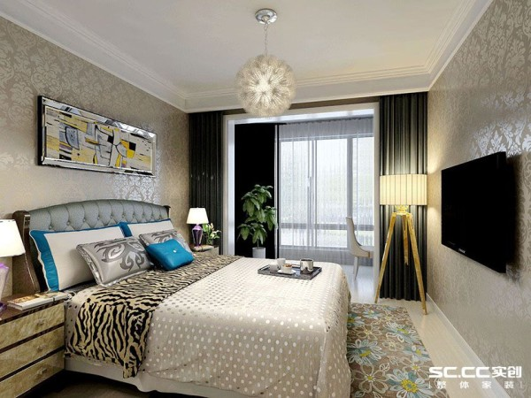 卧室的设计体现着现代美式风格浪漫,细节精致,色彩和谐,墙面用简单的线条加以装饰,既不显单调又不失美观。
