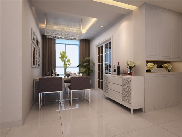 设计理念:餐厅的设计以吊顶的造型来区分空间,及不影响空间的使用又多了功能的划分颜色运用咖色与白色搭配,使整个空间的整体性更强 亮点:餐厅背景墙的挂画体现了爱家会生活的情怀。