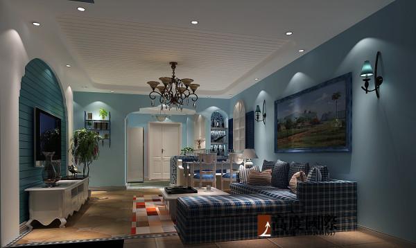 地中海风情-高度国际装饰案例 客厅效果图