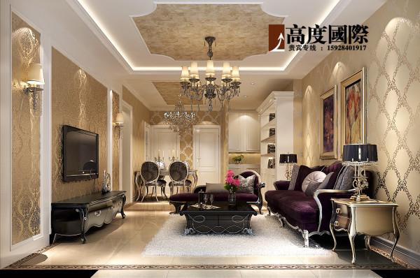 高度国际-简欧奢华效果图展示 客厅效果图