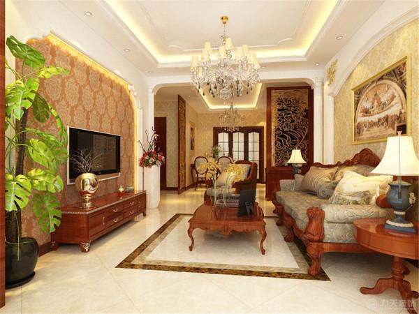 家具以深木色为主,地面有波打线。沙发背景墙与电视背景墙户型但是没有灯带。客餐厅的门口用了罗马柱的造型划分了两个区域。