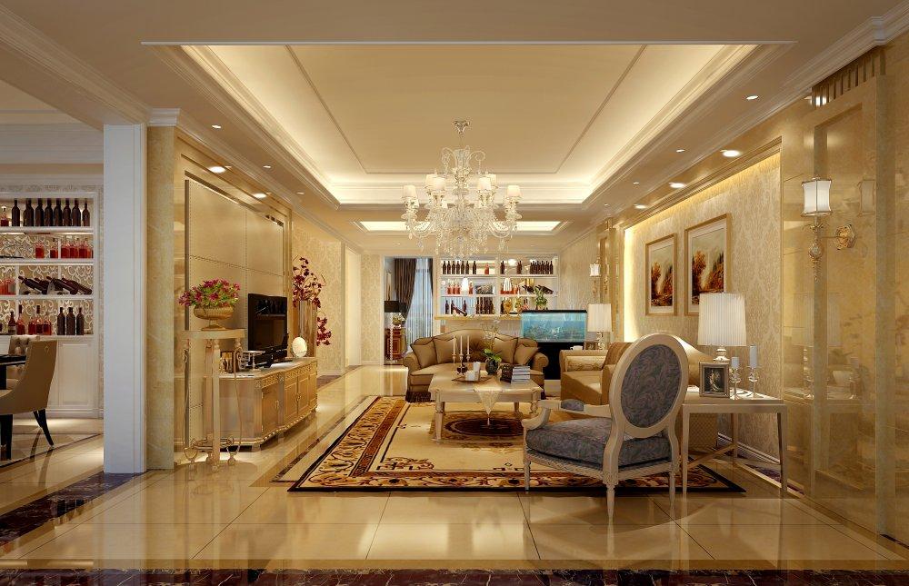 客厅图片来自宏誉装饰-Paul在欧式别墅装修案例的分享