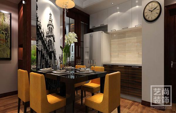 清华大溪地120平方简欧风格装修效果图——餐厅装修效果图