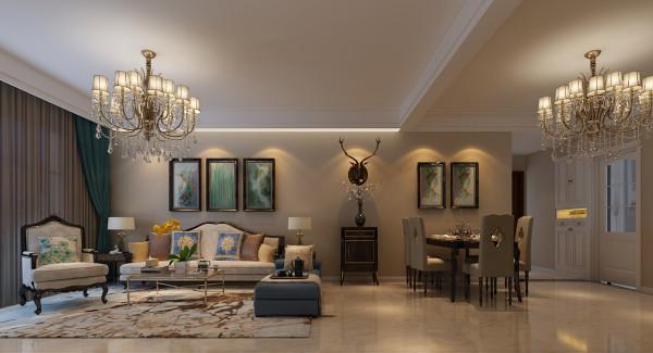 合肥生活家装饰巴黎都市105平米三居美式风格——客餐厅装修效果图      设计理念:对于客厅的装修风格来说,简欧格调是非常不错的。打造简欧客厅,气质很关键,色调及软装都是至关重要的。