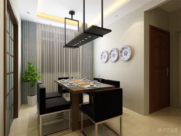餐厅处没有过多造型,厨房为白色烤漆的整体橱柜,简约,实用,主卧室整个墙面也铺简洁壁纸,搭配蓝色竖条纹的床,显得格外好看。