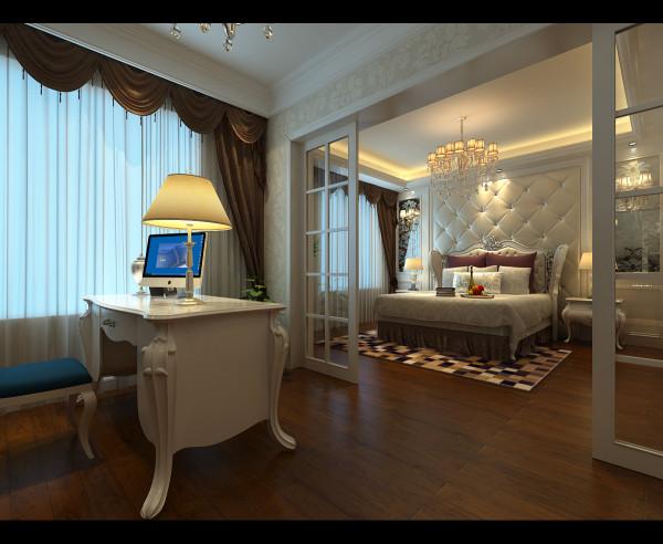 合肥生活家装饰国际花都玫瑰苑130平米三居简欧风格——卧室装修效果图(暖色典雅的床,精灵剔透的吊顶,外加一套组合书桌,在享受品味的同时,似乎使岁月变得年青起来。)