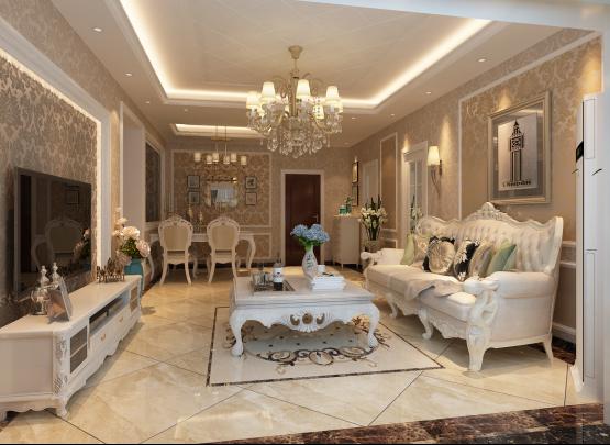 客厅以米黄地砖为主配简欧家具,以米黄为主调,地砖、墙面壁纸、家具、装饰画来衬托整个空间, 让整个客厅突显低调奢华。