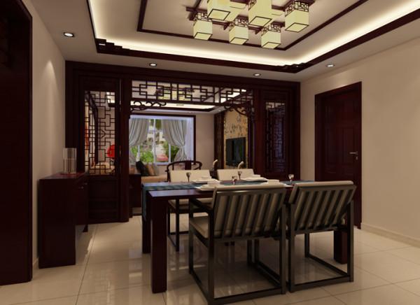 生活家装饰--珠江骏景100平米三居中式古典风格餐厅装修效果图 亮点:因没有单独的餐厅,故把门厅和餐厅设计成一个整体空间!在空间功能格局划分上做了分区,但还是运用原本格局包括风格和客厅相呼应