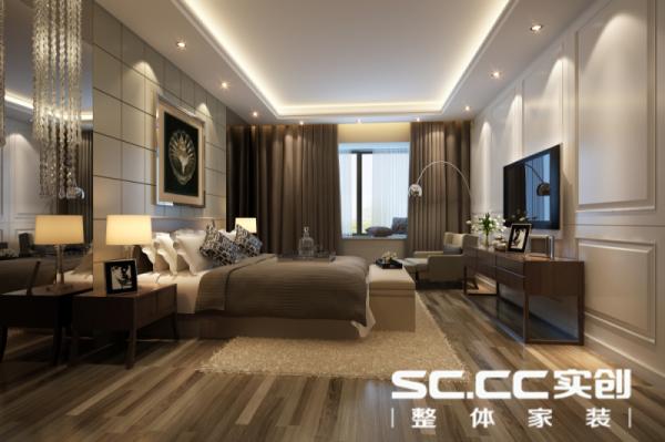 床头采用一面镜子使得空间感更大些,背景墙有些欧式线条美