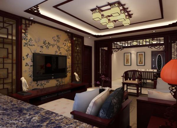 生活家装饰--珠江骏景100平米三居中式古典风格客厅电视背景墙装修效果图