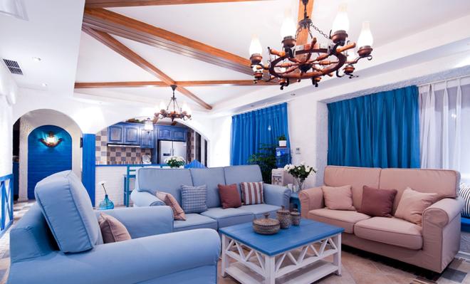 地中海风格 上海实创 上海装修 整体家装 客厅图片来自上海实创-装修设计效果图在【实创装饰】140平米地中海风格的分享