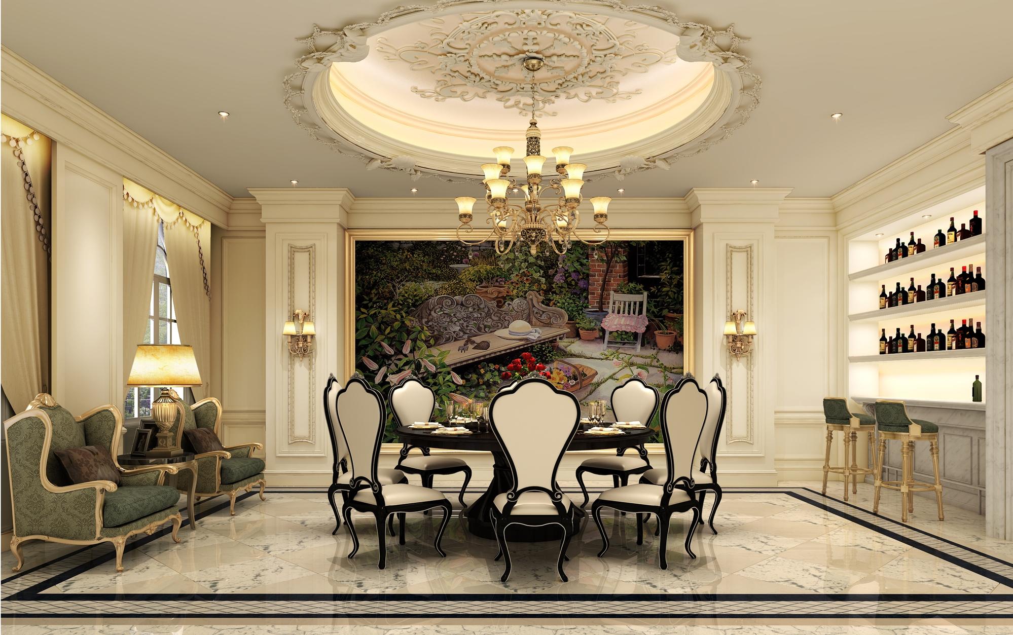 法式风格 原创国际 品质墅装 全案设计 餐厅图片来自原创国际别墅装饰在海兰云天的分享