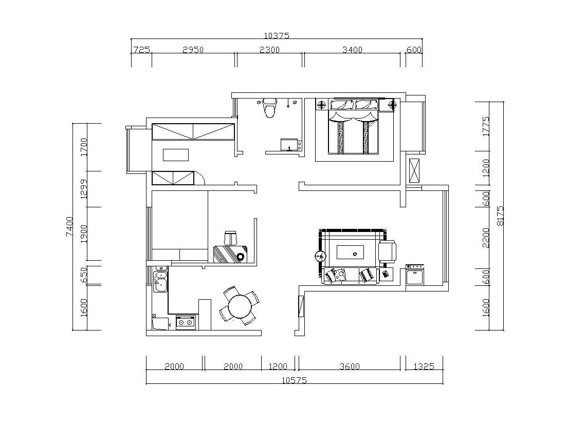 升龙又一城 两居 工业风格 装修 户型图图片来自夏曼在升龙又一城 两居 工业风格装修的分享