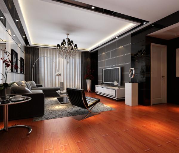 中央特区 94平两居室 后现代风格 家装设计案例 效果图-客厅电视背景墙
