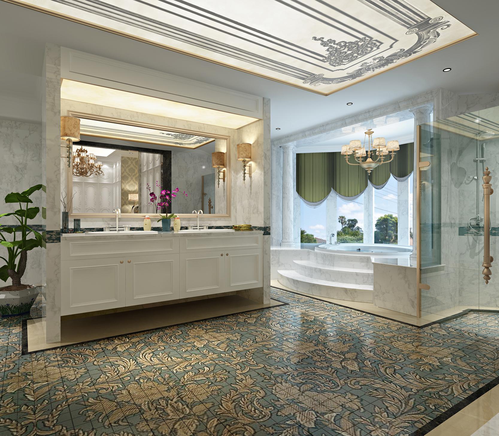 法式风格 原创国际 品质墅装 全案设计 卫生间图片来自原创国际别墅装饰在海兰云天的分享
