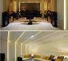 琥珀金色镜面的立体造型拼接、沙发背墙点点LED的光氛以及修饰天花的照明层次,满足了屋主期盼在简洁力度中时尚前卫的娱乐风格。