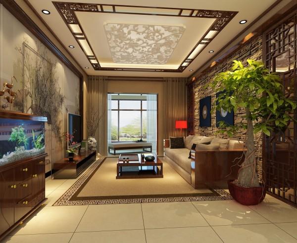 客厅的设计风格以传统和现代居室风格相结合,结合古典中式的装饰元素,影视墙的造型简洁现代,结合写意的梅花图案,给人以舒适的视觉感觉,巧妙的融合了时尚与古典。在搭配水族鱼缸,使整个环境更充满了生气。