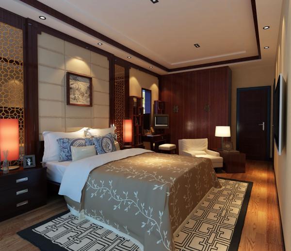 居室在整个色彩的搭配上不仅秉承了中国传统古典风格的典雅和华贵。房间的配饰简约时尚,墙面的工艺隔断镂空处理,表达出传统文化的精髓。床头饰以精巧的灯具和雅致的挂画,使整个屋室在浓浓古韵中透出了现代气息。