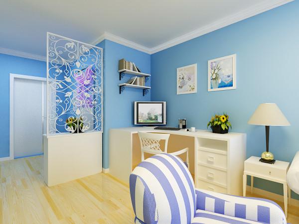 整套方案的设计,主要是简约地中海。由于整个房屋的高度有限,顶面只简单的做了一圈石膏线,墙面的颜色主要是天蓝色。
