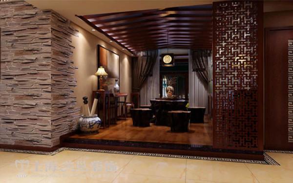 升龙国际新中式装修三室两厅案例——茶室