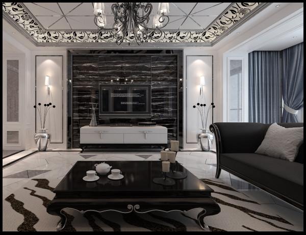 生活家装饰--香墅湾150平米三居现代奢华风格客厅装修效果图 亮点:石材电视墙 石材与镜面的结合,增加了感官硬质效果。两侧的壁灯起到了画龙点睛的作用。