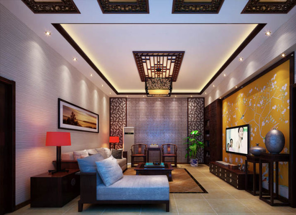 。宽敞的客厅,家具典雅的轮廓与精美的灯饰相得益彰,壁画、鲜花和挂灯也是很好的点缀。电视背景墙作为客厅的焦点尤为令人注目,明亮的色调配以淡雅脱俗的梅花与整个空间融合的恰到好处。
