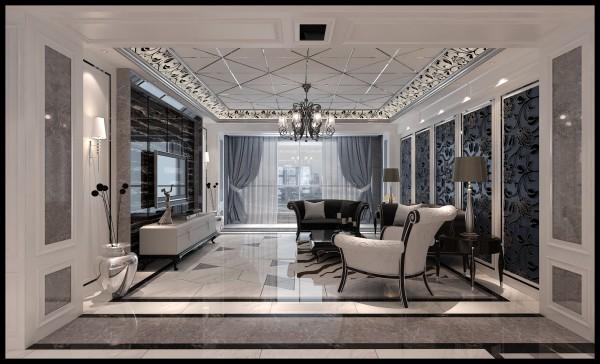 生活家装饰--香墅湾150平米三居现代奢华风格客厅装修效果图  亮点:造型吊顶 直线吊顶增加了金属条与壁纸,增加了整个空间的层次感。
