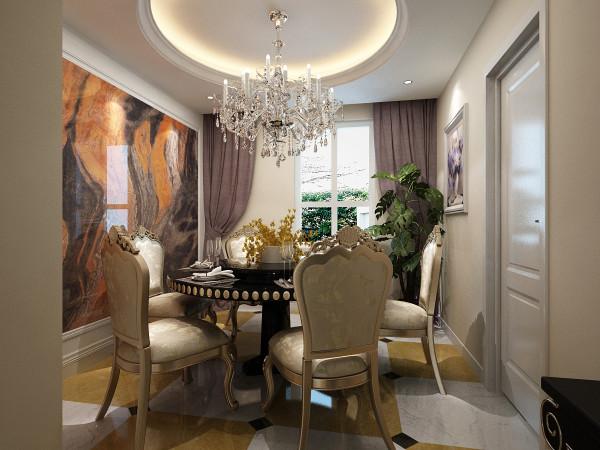 餐厅墙面用瓷砖装饰,大胆的配色让房屋更有气质。圆形的顶部天花及圆桌烘托出一个既活泼又温馨的用餐环境。