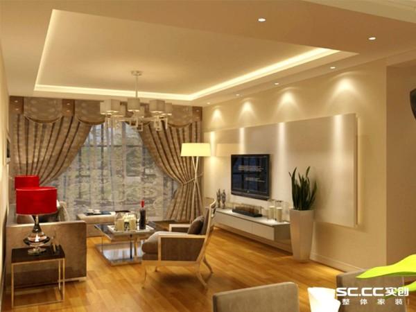 浅卡色的墙漆使客厅看起来干净敞亮,又不失时尚,灰色的沙发深色的窗帘让客厅色彩统一和谐,红色的台灯点缀了客厅,让色彩不那么单一。