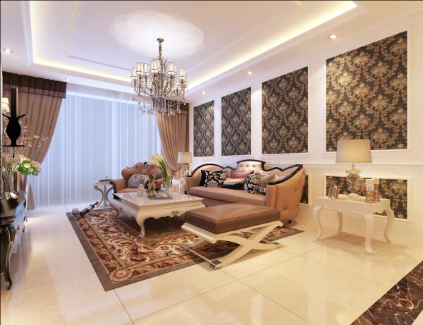 石家庄小区【万国园星州美域】客厅沙发墙装修 整屋以象牙白为主色调,沙发背景墙采用白色石膏板饰面,以深色系欧式壁纸做点缀,使空间更加大气有不失高雅。